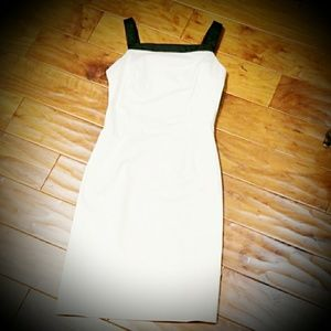 The Limited white and black fitted dress